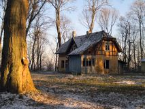 Abandoned house. Old rural damaged house in romanesque style (Prussia architecture stock photo