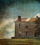 Abandoned house. With grunge illustration Stock Photography