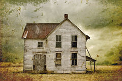 Abandoned house. Illustration of a weathered abandoned home in a rural area with storm clouds in the background stock illustration