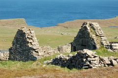 Abandoned house. Built in drystone style in Levenwick, Shetland Islands Stock Images
