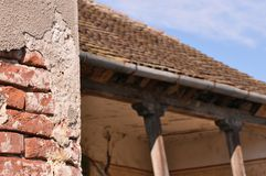 Abandoned house. Abandoned and deteriorated brick house royalty free stock images