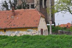 Abandoned house. Abandoned and deteriorated brick house royalty free stock photography