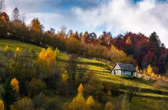 Abandoned house in autumn forest on hillside. Lovely countryside scenery on fine weather autumn day Stock Photo