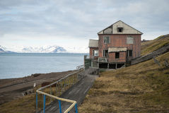 Abandoned house in Barentsburg, Russian settlement in Svalbard Stock Photography