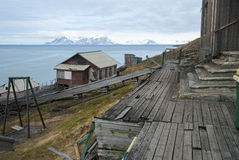 Abandoned house in Barentsburg, Russian settlement in Svalbard Stock Photos