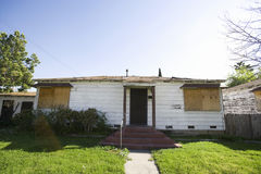 Abandoned House With Boarded Up Windows Royalty Free Stock Images