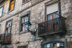 Abandoned house buildings in old Porto downtown, Portugal. Stock Photos
