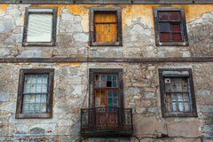 Abandoned house buildings in old Porto downtown, Portugal. Royalty Free Stock Photos
