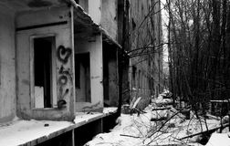 Abandoned house in the city. The inscription on the wall of Love. Royalty Free Stock Images