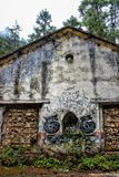 The abandoned house in dense forest stock photography