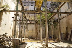 Abandoned house and destroyed in Old Havana. stock photography