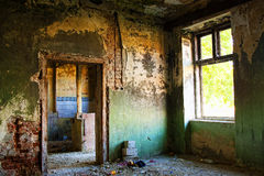 Abandoned house detail. Detail of abandoned, run-down house interior stock image