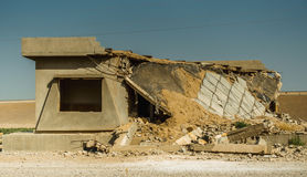 Abandoned house due to car explosion Stock Photo
