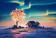 Abandoned house and fantasy tree lights under Northern Lights. Illustration painting stock illustration