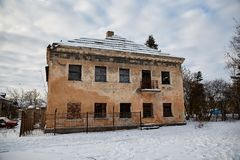 Abandoned house getting ready for demolition. 2017 royalty free stock photography