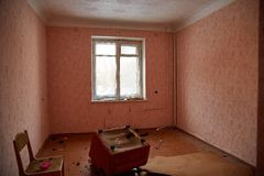 Abandoned house getting ready for demolition. 2017 stock photo