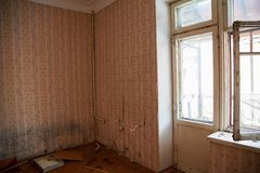 Abandoned house getting ready for demolition. 2017 stock photography