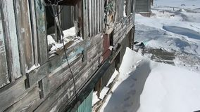 Abandoned house ghost town of Gudym Anadyr-1 Chukotka of far north of Russia. stock video