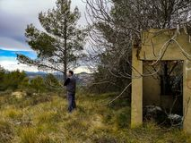 Abandoned house invaded by nature. On the mountain royalty free stock images