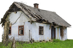 Abandoned House Isolated. Rural abandoned House on the grass isolated Royalty Free Stock Images