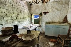 Room with a view - Alpine depopulation. Abandoned house kitchen in the alpine village of Mindino, municipality of Garessio, in Piedmont, Italy royalty free stock photo