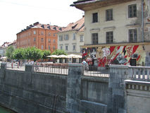 Abandoned house. Ljubljana. View from the Cobblers bridge to an abandoned house royalty free stock image