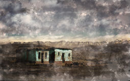 Abandoned house on lonely landscape. An Illustration of an abandoned house on a lonely landscape with snowy mountains in background Royalty Free Stock Photos