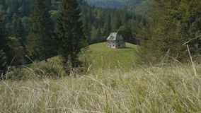 Abandoned house in the mountains. Summer trip to the Carpathian Mountains Ukraine stock footage