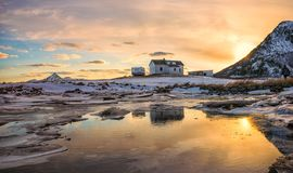 Abandoned house in Norway. At sunset stock photography