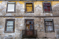 Abandoned house in old Porto downtown, Portugal. Royalty Free Stock Photo