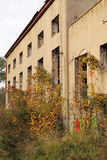 Abandoned house. Old abandoned house with some colorful trees and plants growing next to it in autumn, Havirov, Czech Republic Royalty Free Stock Photo