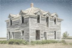 Abandoned house in rural Nebraska. Abandoned old house in rural Nebraska in the middle of a field, digital charcoal painting effect Royalty Free Stock Image