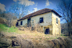Abandoned house in Serbian mountain village. Abandoned house in abandoned Serbian village. Serbian mountain village. South Serbia stock photo