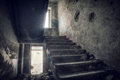 Abandoned house. Staircase in an abandoned house royalty free stock images