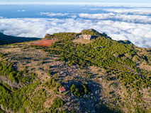 Abandoned House on Top Mountain Above the Clouds Royalty Free Stock Image
