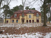 Abandoned house and trees. Abandoned yellow house with boarded windows and crumbling tile roof in between pine trees with snow covered neglected front yard Stock Photo