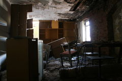 Abandoned house. Abandoned and very devastated room royalty free stock image