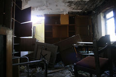Abandoned house. Abandoned and very devastated room royalty free stock photo