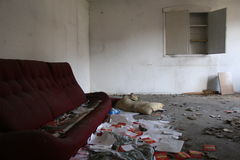 Abandoned house. Abandoned and very devastated room stock photos