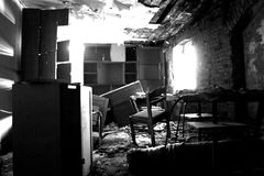 Abandoned house. Abandoned and very devastated room royalty free stock photos
