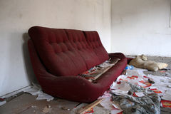Abandoned house. Abandoned and very devastated room stock image