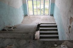 Abandoned house. The view of the stairs royalty free stock photo