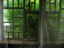 Abandoned house windows, architecture detail, old curtain Stock Image
