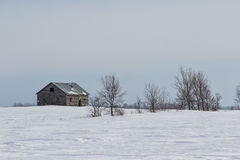 Abandoned house on a winter prairie. An old weathered home on a winter landscape Stock Photography
