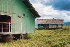 Abandoned houseboat. In drained lake Royalty Free Stock Photos