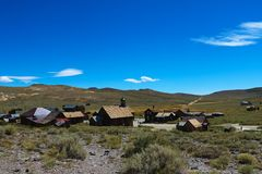 Abandoned houses in the desert after the gold rush, Bodie, Ghost Town, California stock image