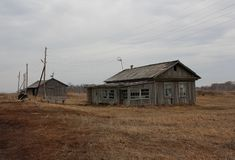 Abandoned houses, dilapidated buildings stock image