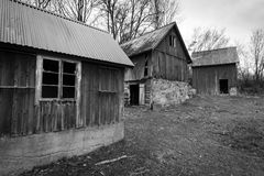 Abandoned houses in monochrome Royalty Free Stock Photo
