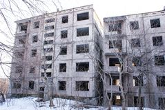 Abandoned houses in Pripyat. Chernobyl nuclear power plant Stock Photography