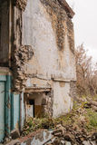 Abandoned houses and ruined city wet  muddy, old Stock Photo